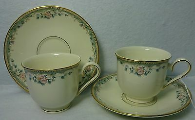 LENOX china SPRING VISTA pattern CUP - SAUCER - Set of Two 2 - 3