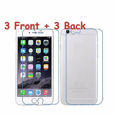 6pcs3xFront-Back Clear Screen Protector Film For iPhone 44s 55s 66s Plus