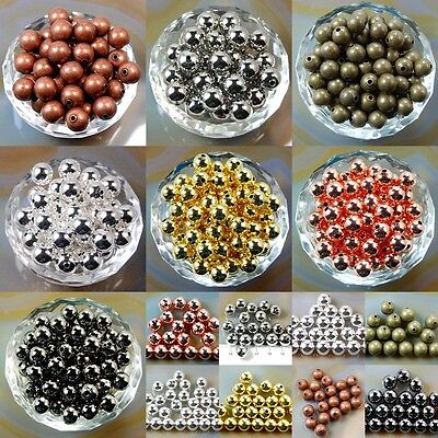 Wholesale Smooth Round Metal Copper Spacer Beads 2-4mm 3mm 4mm 5mm 6mm 8mm 10mm