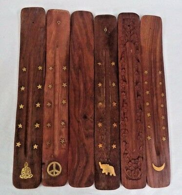 10 Wooden Wood Incense Burner Holder Ash Catcher for Sticks CHOOSE DESIGN