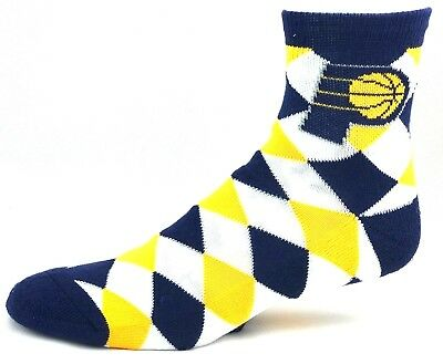 Indiana Pacers NBA Quarter Socks White Yellow Navy