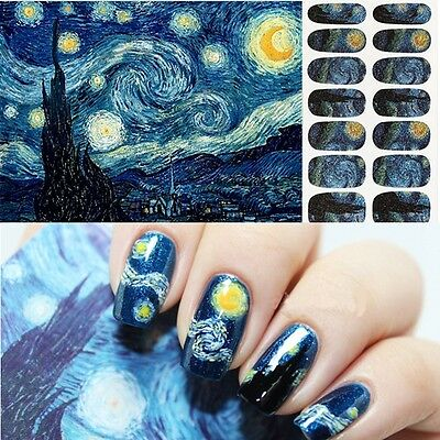 14pcs Nail Art Sticker Glitter Colorful Decal Manicure Tips DIY Wraps Nice