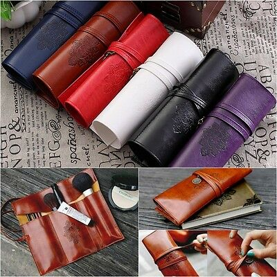 Pencil Pen Case Roll Cosmetic Pouch Pocket Brush Holder Makeup Bag