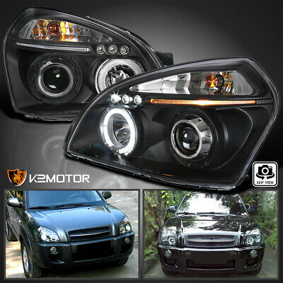 For 2005-2009 Tucson Halo LED DRL Projector Headlights Black Left-Right
