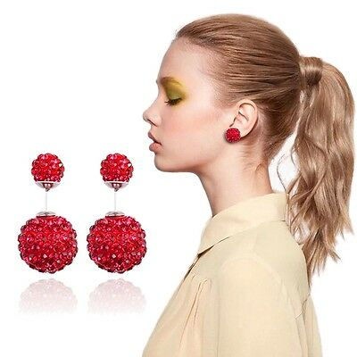 Hot-sale Womens Silver Plated Decor Double Beads Dual-use Ear Studs Earrings