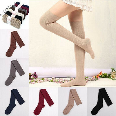 Women Warm Knit Cotton Over Knee Thigh Stockings Pantyhose Tights High Socks