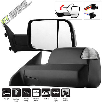 2009-2012 Dodge Ram Power Heated SMOKED LED Signal Towing Mirrors Left-Right