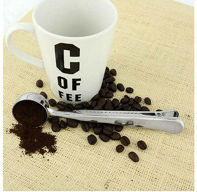 1pc Stainles Steel Ground Coffee Measuring Scoop Spoon With Bag Seal Clip Silver