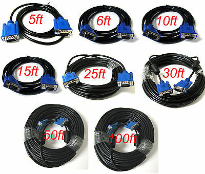 SVGA SUPER VGA Monitor 15PIN MM Male To Male Cable CORD FOR PC TV HDTV Blue Us