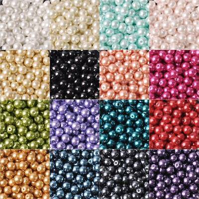 4681012mm  Round Czech Glass Pearl Loose Beads lot for Crafts Jewelry Making