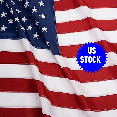 3x5 FT American Flag USA US Sewn Stripes Embroidered Stars Brass Grommets Hot