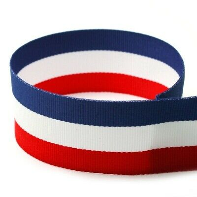 5 yds 1-5 PATRIOTIC 4th OF JULY  RED WHITE ROYAL BLUE STRIPE GROSGRAIN RIBBON