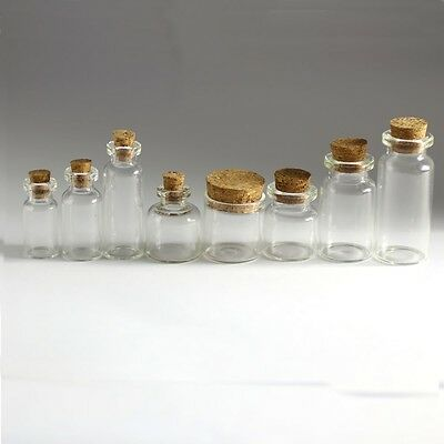 Wholesale Lot Empty Clear Cork Glass Bottles Vials With Cork Borosilicate