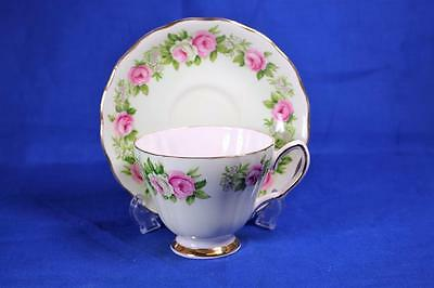 Colclough light Blue Pink - White Roses Cup - Saucer