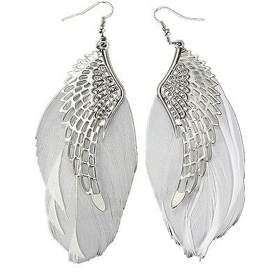 Fashion Silver Plated Feather Alloy Angle wings Dangle Eerrings Women Jewelry