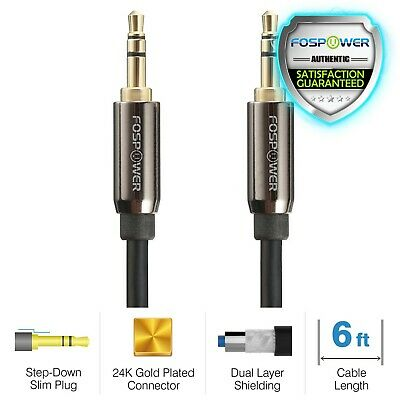 6FT AUX Headphone 3-5mm Cable Male to Male Car Stereo Audio Cord iPhone Samsung