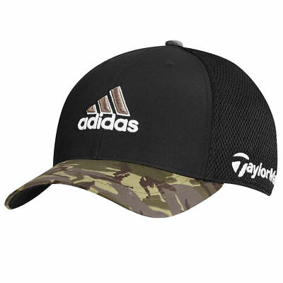 TaylorMade Adidas Golf Tour Mesh FlexFit BlackCamo Camouflage Fitted Hat Cap