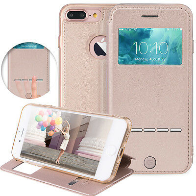 For Apple iPhone 7 Plus Flip PU Leather Cover Window View Stand Wallet Case
