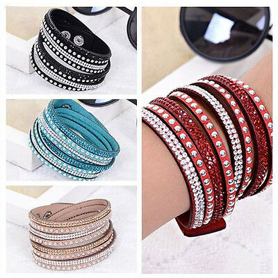 1X PU Leather Fashhion Crystals 2 wrap Layers Around Adjustable Bracelet NEW