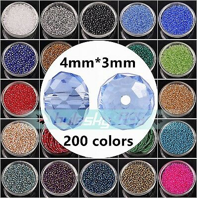 100pcs 4mm4x3mm Rondelle Faceted Crystal Glass Loose Spacer Beads lot