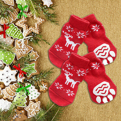 2Pair Christmas Pet Apparel Xmas Pet Socks for Small Dogs and Cats