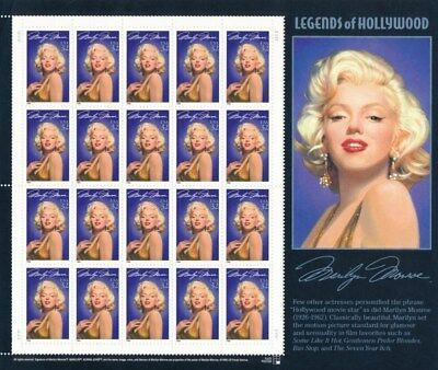 Marilyn Monroe Legends of Hollywood Sheet Of 20 Stamps 32 Cent Stamps Scott 2967