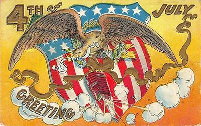 FOURTH OF JULY 4TH HOLIDAY EAGLE SHIELD EMBOSSED PATRIOTIC POSTCARD 1911
