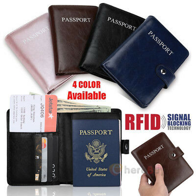 Leather Passport Holder Travel Wallet RFID Blocking ID Card Case Cover Purse New