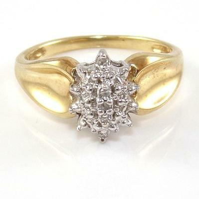 10K Yellow Gold Natural Diamond Cluster Ring Size 7-5