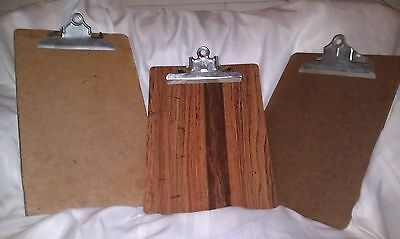 Lot of 3 Vintage Wood Clipboards A-W SKILCRAFT OIC