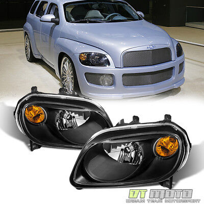 Black 2006-2011 Chevy HHR Replacement Headlights Headlamps 06-11 Set Left-Right