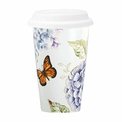 Lenox Butterfly Meadow Blue Thermal Mug White New
