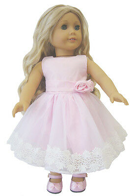 Doll Clothes fits 18 American Girl Beautiful Pink Party Dress w Crochet Lace