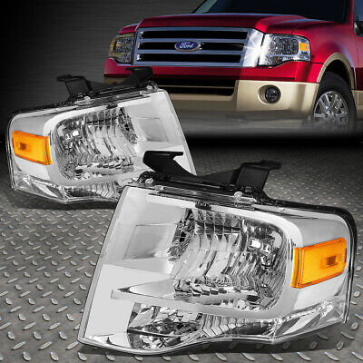 FOR 2007-2014 FORD EXPEDITION PAIR CHROME HOUSING AMBER SIDE HEADLIGHTLAMP SET