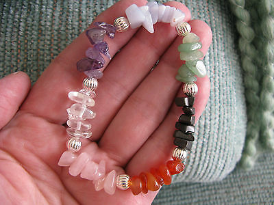 NEW CHAKRA CRYSTAL HEALING NATURAL GEMSTONE - SILVER BEADED BRACELET-7 12