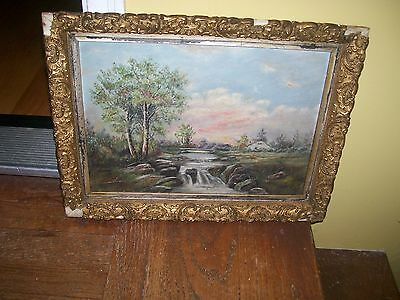 oil painting on board Farmhouse by the Stream Antique