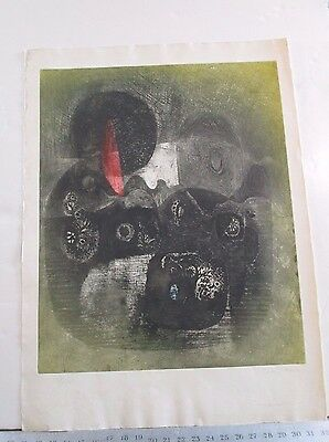 CHECK THE SIGNATURE vintage Abstract PRINT hand signed by artist 78120 22x30