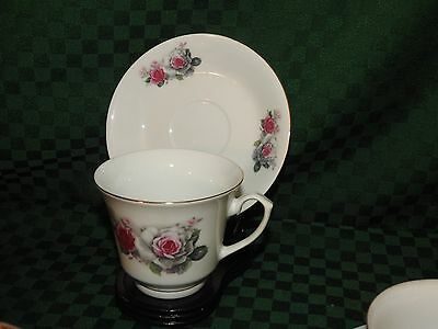 TEACUP - SAUCER  VINTAGE CHINA PINKWHITE ROSES A