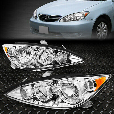 FOR 2005-2006 TOYOTA CAMRY PAIR CHROME HOUSING AMBER CORNER HEADLIGHTLAMP SET