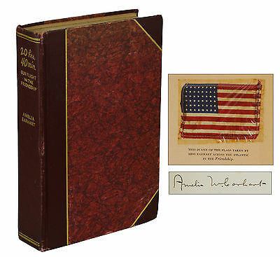 20 hrs- 40 min- AMELIA EARHART  SIGNED Limited First Edition 1928 Flag Aviation