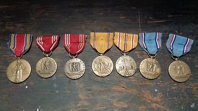 WWII vintage U-S- Army lot of 7 uniform service medals - ribbons