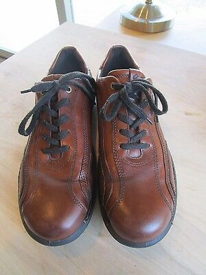 ECCO Brown Leather Oxford Lace Up Top Stitched Shoes Size Mens 44