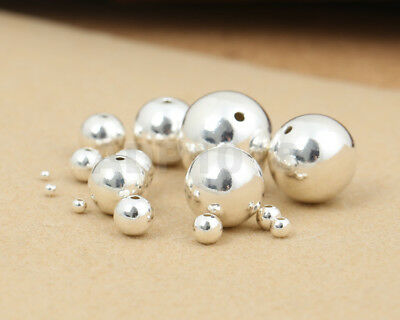 Sterling Silver 925 Seamless Round Spacer Beads 2mm 3mm 4mm 5mm 6mm 7mm 8mm