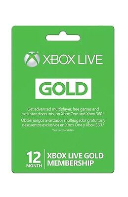 Microsoft Xbox LIVE 12 Month Gold Membership for Xbox 360 and Xbox One Read Desc