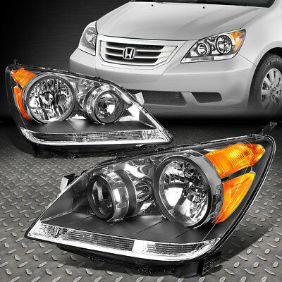 FOR 2008-2010 HONDA ODYSSEY PAIR BLACK HOUSING AMBER SIDE HEADLIGHTLAMP SET