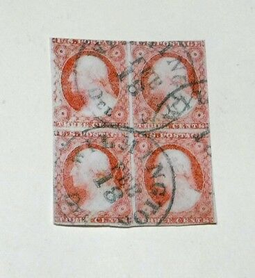 Scott 11  3 cent Washington used Block of 4 stamps  Forgery