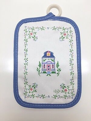 Lenox Village Giftware Blue House Pattern Cloth Potholder 6-5 x 8-5 with Ring