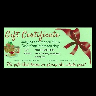 JELLY OF THE MONTH CLUB CERTIFICATE Christmas Vacation CLARK GRISWOLD prop