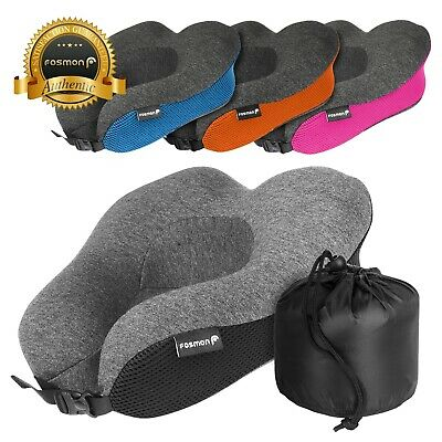Fosmon Adjustable Strap Memory Foam Travel Neck Pillow Car Flight Soft Cushion