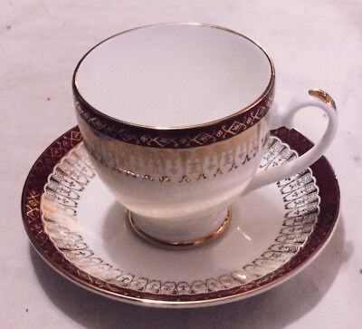 Royal Grafton Majestic Maroon China - Small Demitasse Size Footed Cup - Saucer